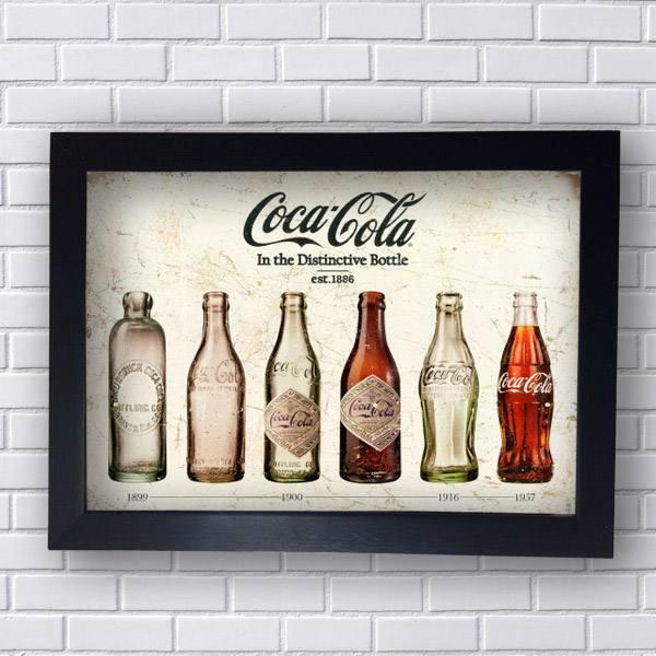 Quadro Decorativo Coca Cola Garrafas - Moldura Preta