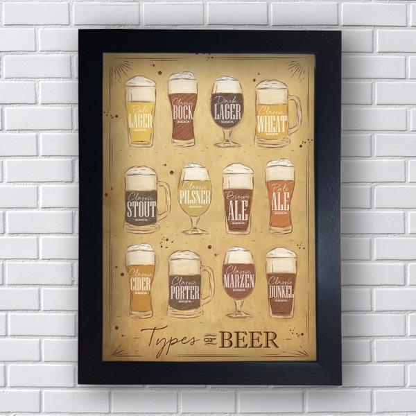 Quadro Decorativo Tipos de Cerveja - Moldura Preta