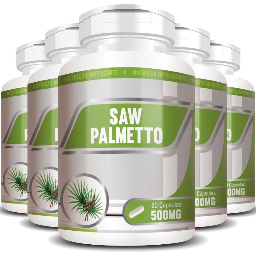Saw Palmetto 500mg - 100% Puro - 05 Potes com 60 cápsulas  - LA Nature