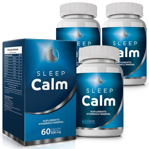 Sleep Calm 500mg - 03 Potes com 60 cápsulas