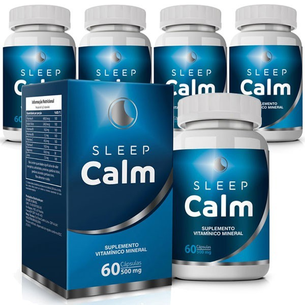 Sleep Calm 500mg - 05 Potes com 60 cápsulas