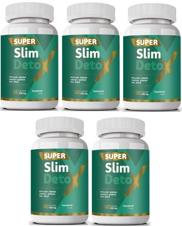 Emagrecedor Super Slim Detox - Original | 500mg | 05 Potes   - LA Nature