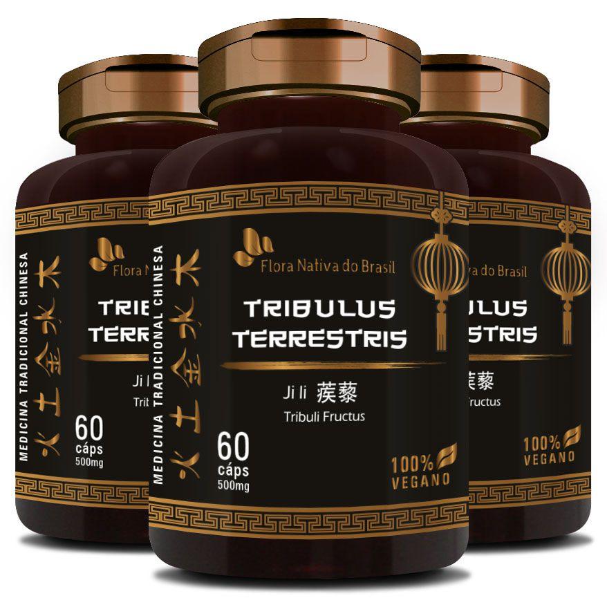 Tribullus Terrestris (Ji Li - Tribuli Fuctrus) - 100% Vegano 500mg - 3 Potes  - LA Nature