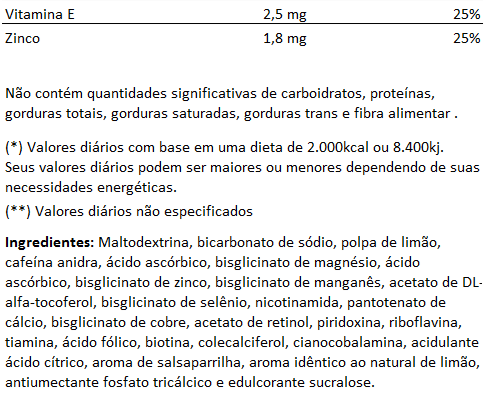 Tribus Cafeína Efervescente, 200g, Sabor Limão e Salsaparrilha - 0% Zero Açúcar  - LA Nature