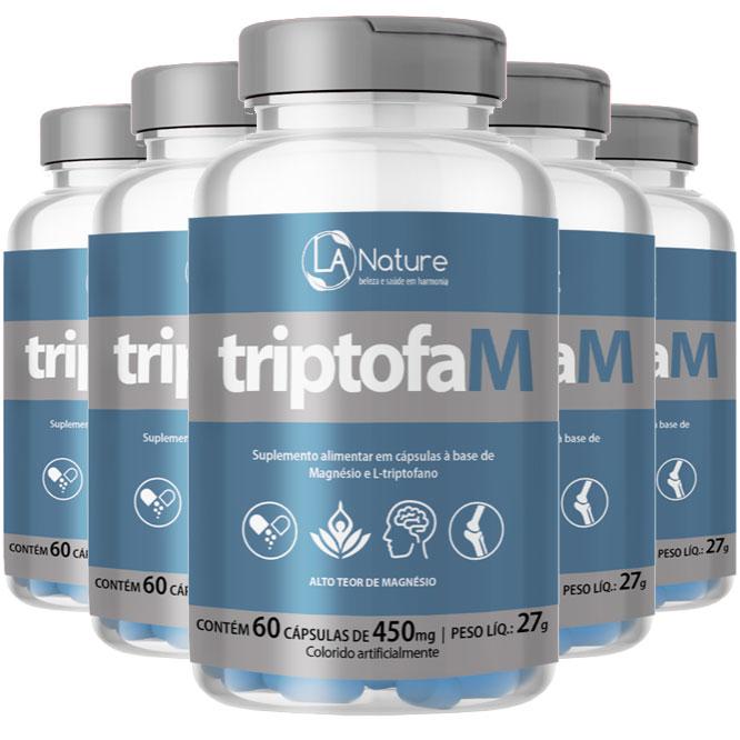 TriptofaM 450mg - 05 Potes com 60 cápsulas  - LA Nature