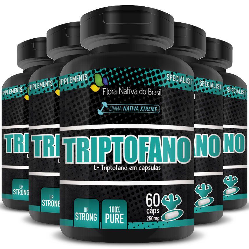 Triptofano Original 100% Puro - 250mg - 5 Potes (300 cáps.)