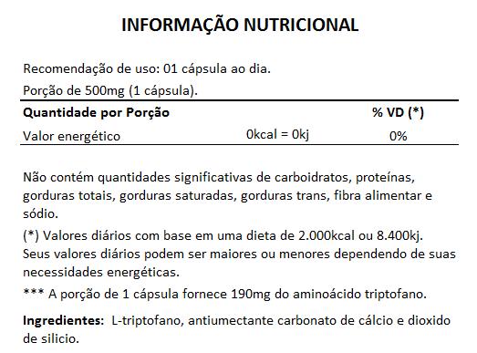 Triptofano - L-Tryptophan 190mg - 60 cápsulas - 3 Potes  - LA Nature