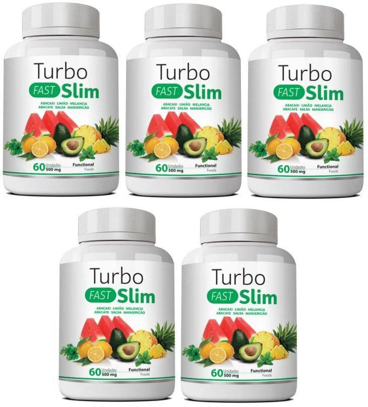 Emagrecedor Turbo Slim Fast Original 500mg - 05 Potes   - LA Nature