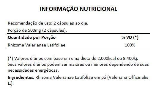 Valeriana em Cápsulas de 500mg - 100% Pura (Zhi Zhu Xiang Rhizoma Valerianae Latifoliae) - 5 Potes  - LA Nature