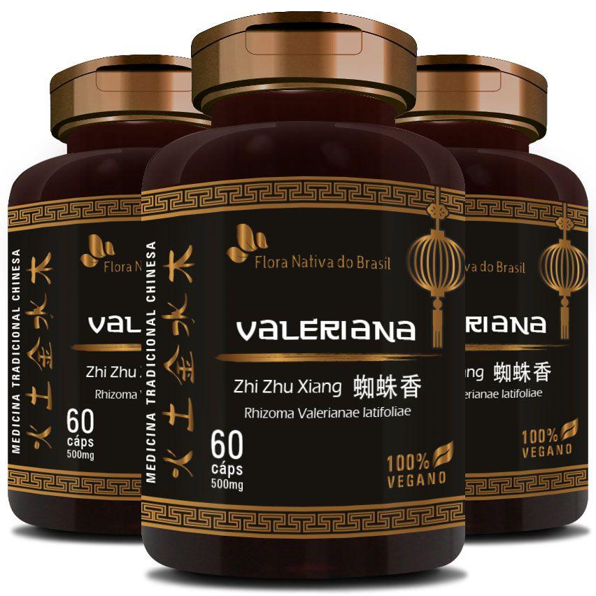 Valeriana Zhi Zhu Xiang Rhizoma Valerianae Latifoliae - 100% Vegano - 500mg - 3 Potes  - LA Nature