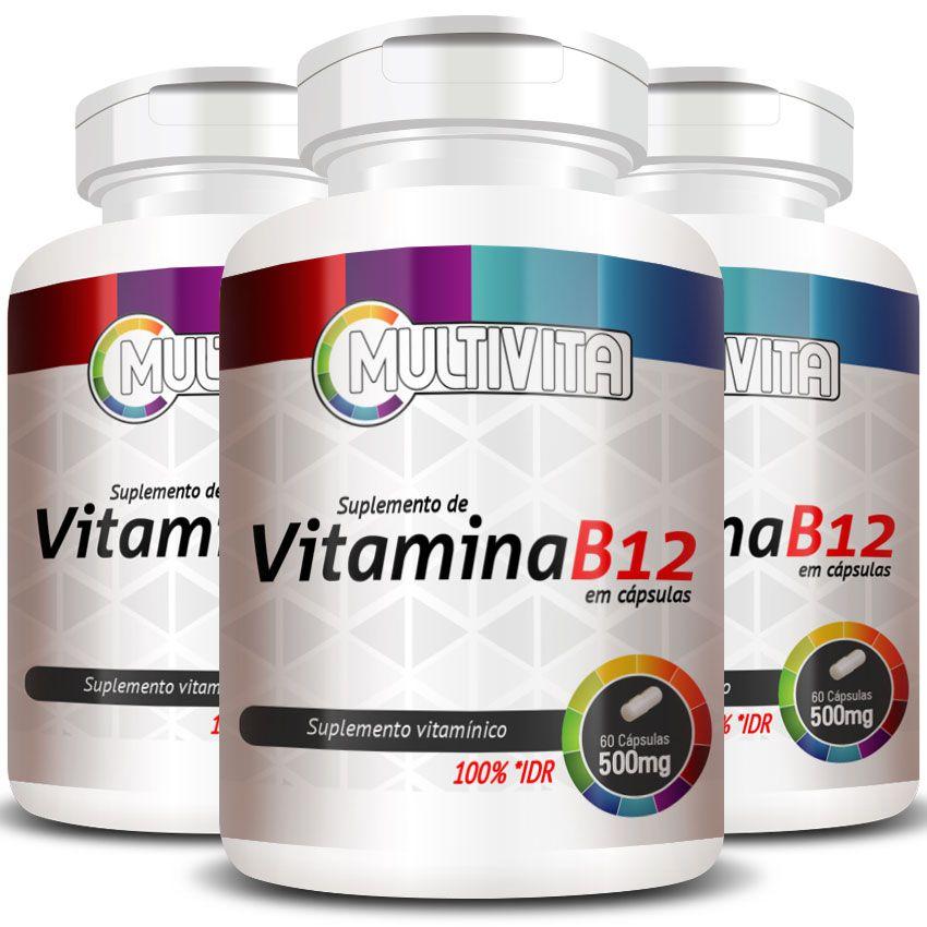 Vitamina B12 Cianocobalamina 2,4mcg - 3 Potes (180 cáps)