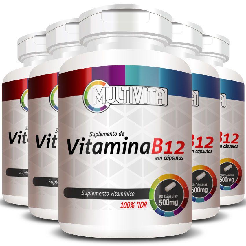 Vitamina B12 Cianocobalamina 2,4mcg - 5 Potes (300 cáps)