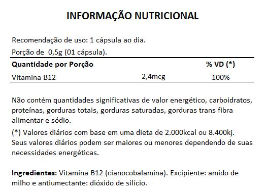 Vitamina B12 Original - 60 cápsulas de 500mg  - LA Nature