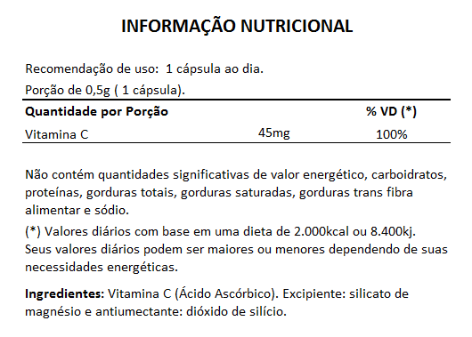 Vitamina C - 60 Cápsulas de 500mg  - LA Nature