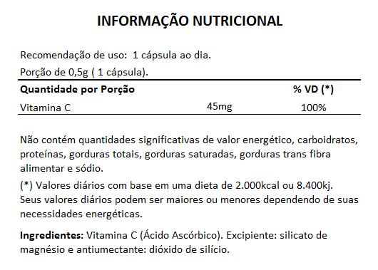 Vitamina C em cápsulas de 500mg - 3 Potes  - LA Nature