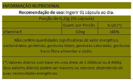 Vitamina E Concentrada - Cápsulas de 250mg - 05 Potes  - LA Nature