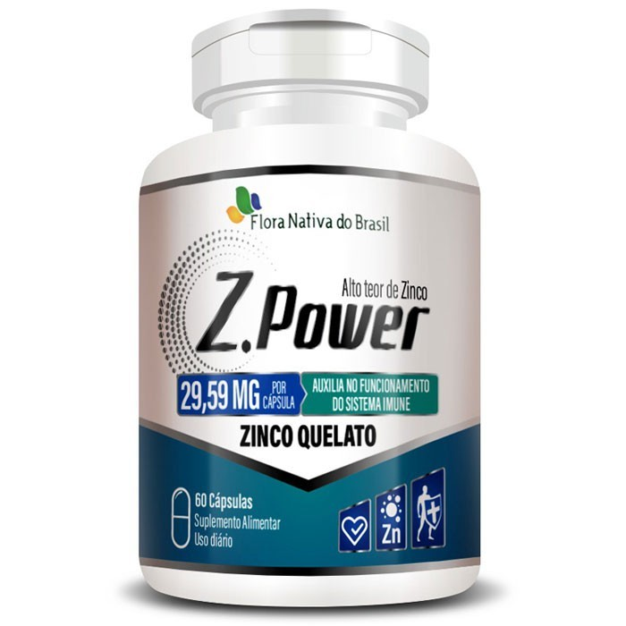 Z.Power 29,59mg - 423% IDR - Alto Teor de Zinco Quelato - 1 Pote (60 cáps.)