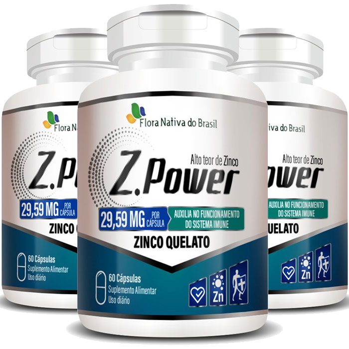 Z.Power 29,59mg - 423% IDR - Alto Teor de Zinco Quelato - 3 Potes (180 cáps.)