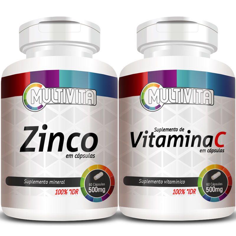 Zinco - 60 cáps. 500mg + Vitamina C - 60 cáps. 500mg (Aumentar Imunidade)  - LA Nature
