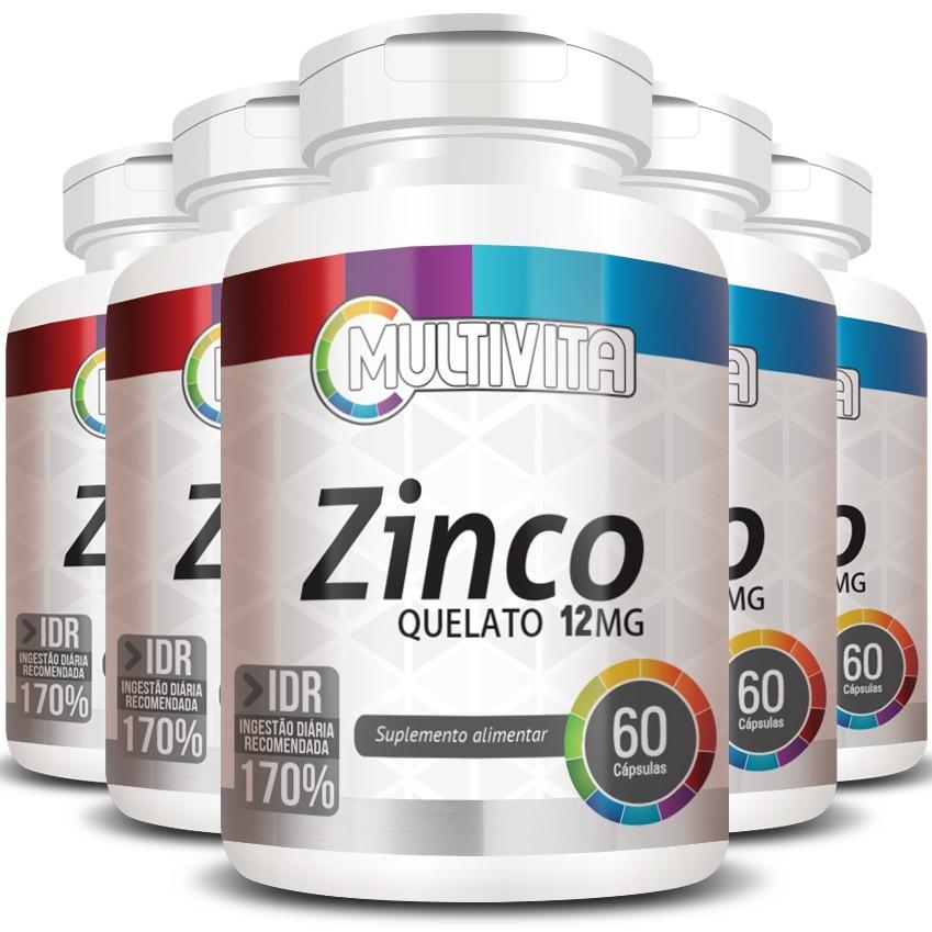 Zinco Quelato 12mg - 171% IDR - 5 Potes (300 cáps.)