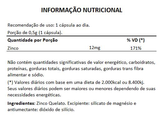 Zinco Quelato 12mg - 60 cápsulas  - LA Nature