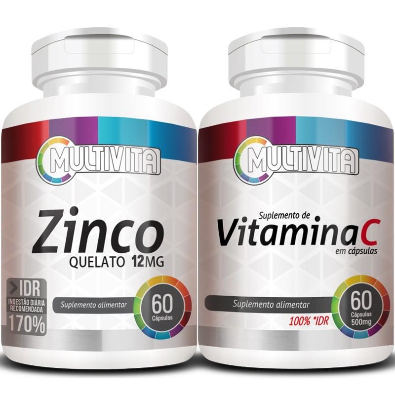 Kit - Zinco Quelato - 60 cáps. 12mg + Vitamina C - 60 cáps. 500mg (Aumentar Imunidade)