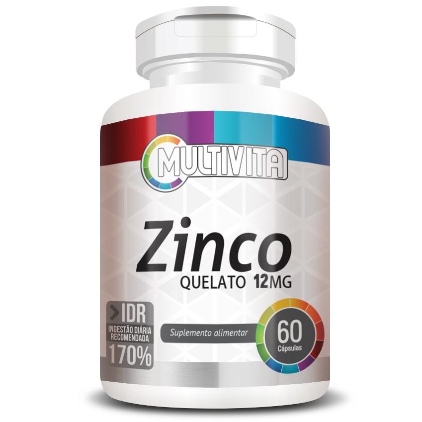 Zinco Quelato 12mg - 171% IDR - 1 Pote (60 cáps)