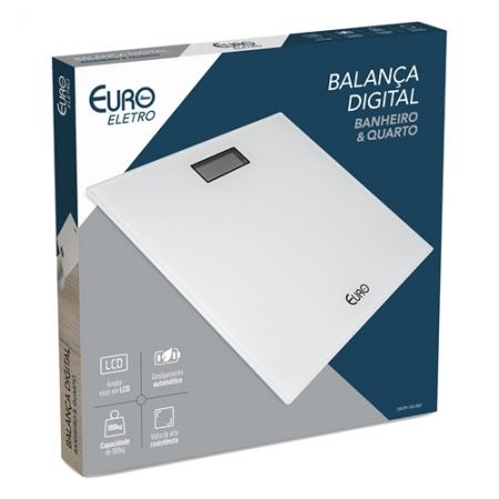 Balanca Digital Euro Home para Banheiro e Quarto Branca 28X28CM