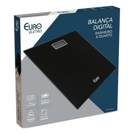 Balanca Digital Euro Home para Banheiro Preta 28X28CM