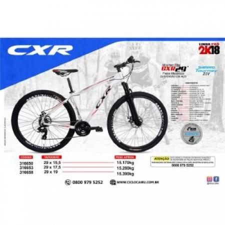 Bicileta ARO 29 Cairu AL CXR 21V Freio a DISC MEC - 316653 BCO/PTO/VERM