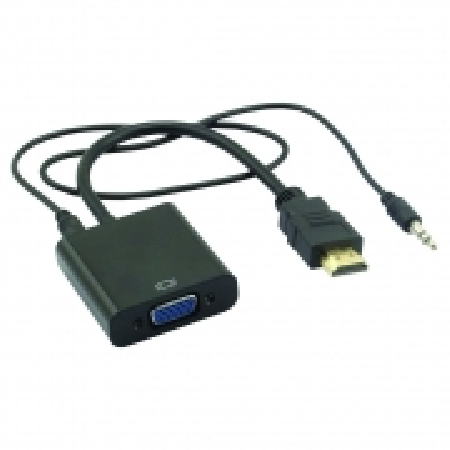 Cabo Conversor HDMI para VGA + Audio Cabo P2 e USB Preto