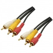 Cabo de Audio e Video 3RCA + 3RCA GOLD 1,80 Metros Emborrachado