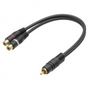 Cabo de Audio Y 1 RCA Macho + 2 RCA Femea GOLD 5 MM (granel)