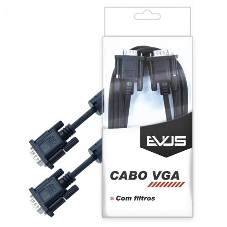 Cabo EVUS VGA C-005 5.0M com Blister Filtros HD15M X HD15M Preto