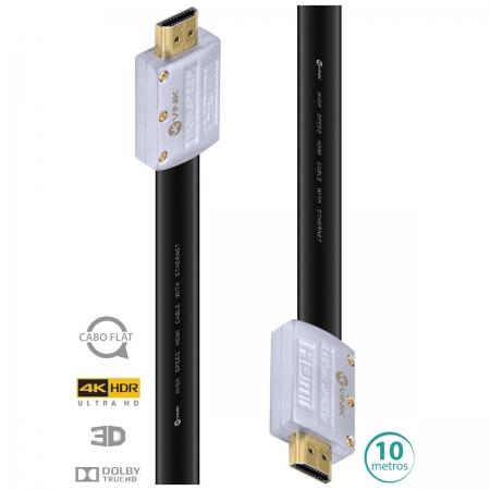 Cabo HDMI 2.0 4K ULTRA HD 3D Conexao ETHERNET FLAT com Conector Desmontavel 10 Metros - H20FL-10