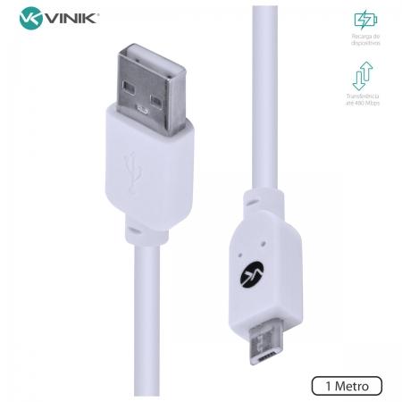 Cabo USB X Micro USB B 2.0 5 Pinos 1 Metro Branco - MUSB-1