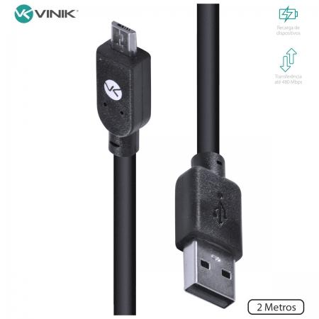 Cabo USB X Micro USB B 2.0 5 Pinos 2 Metros Preto - MUSB-2