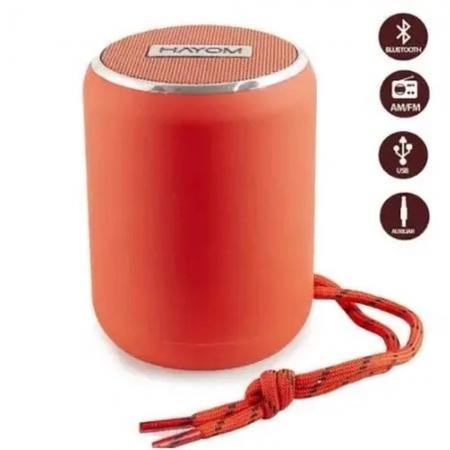 Caixa de Som Hayom Portatil Bluetooth 5.0 TWS Micro SD USB FM 5W Chamadas Vermelha - CP2703