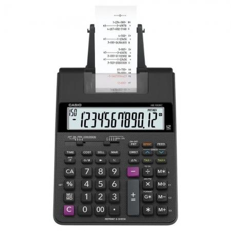 Calculadora com Bobina 2.0 Linha, com 2 Cores Impressao HR-100RC-BK-B-DC Preta