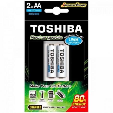 Carregador de Pilha USB AA/AAA MIN.2000 MAH C/2 Toshiba