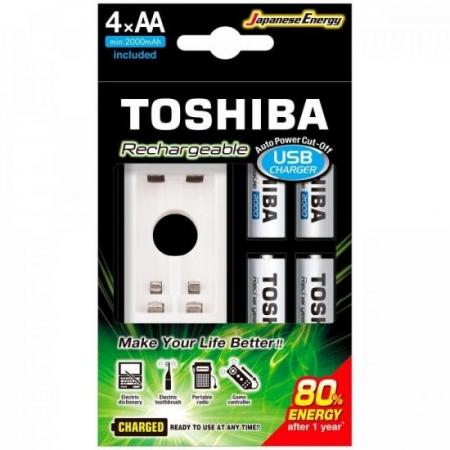 Carregador de Pilha USB AA/AAA MIN. 2000MAH C/4 Toshiba