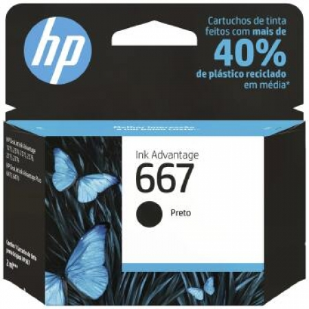 Cartucho de Tinta HP 667 Preto - 3YM79AB