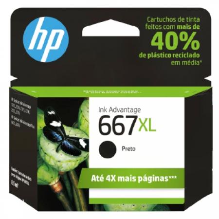Cartucho de Tinta HP 667XL Preto - 3YM81AB