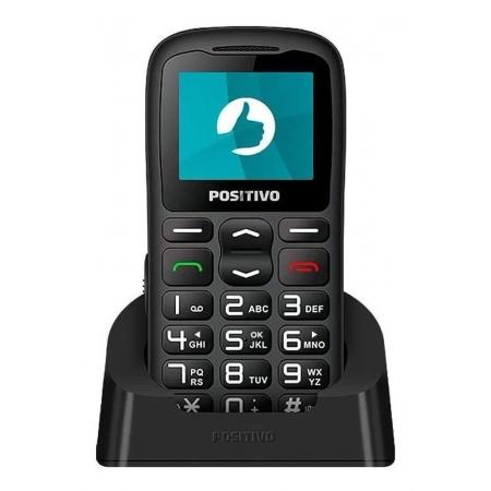 Celular Positivo P36 3G com Base e Conexao para Antena Rural, Dual CHIP, 3G, Bluetooth, Botao SOS - Preto