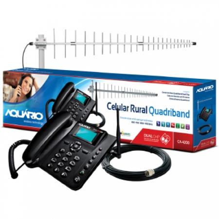 Celular Rural Aquario CA-4200 Dual CHIP Quad BAND com KIT - CA-4201-4200 Preto Quadriband