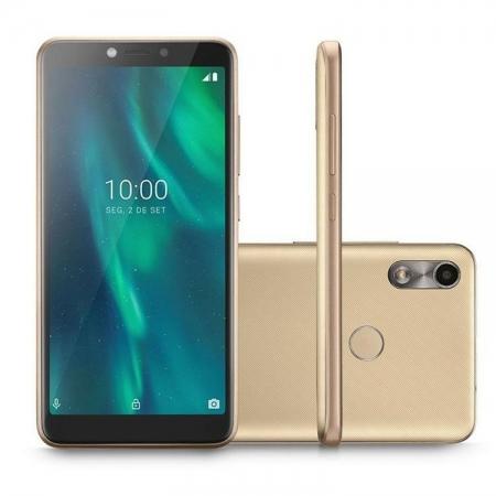 Celular Smartphone Multilaser F Tela 5.5 POL. Sensor de Digitais 32GB 3G 1GB RAM P9131 Dourado