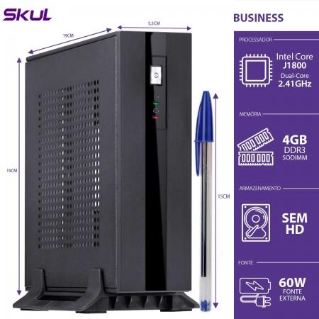 Computador Business B100 Mini - Celeron Dual Core J1800 2.41GHZ 4GB DDR3 Sodimm sem HD HDMI/VGA Fonte Externa 60W