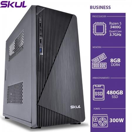 Computador Business B500 - RYZEN 5 3400G 3.7GHZ 8GB DDR4 SSD 480GB HDMI/VGA Fonte 300W