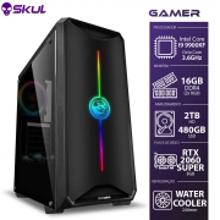 Computador Gamer 9000-I9 9900KF 3.6GHZ MEM.16GB DDR4(2X8GB)SSD 480GB HD2TB Water Cooler 240MM RTX 2060 8GB Super 600W (7908020918394)