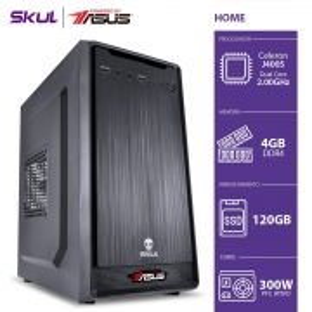 Computador Home H100 Powered ASUS-CELERON J4005 2.00GHZ 4GB DDR4 SSD 120GB HDMI/VGA Fonte 300W Linux